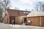 Mottisfont Abbey, Welcome Centre. National Trust Hampshire Development, England, UK. Design by Burd Haward Architects. Profile -Vertical timber fins - 44mm x 280mm planed all round. Species - Western Red Cedar No2 Clear & Better ONLY